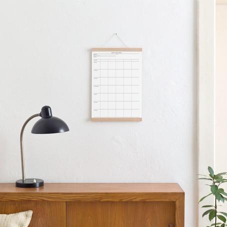 Set / Familien-Wochenplaner + Posterleiste Eiche A3