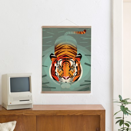 Set / Swimming Tiger + Posterleiste Eiche 50 cm
