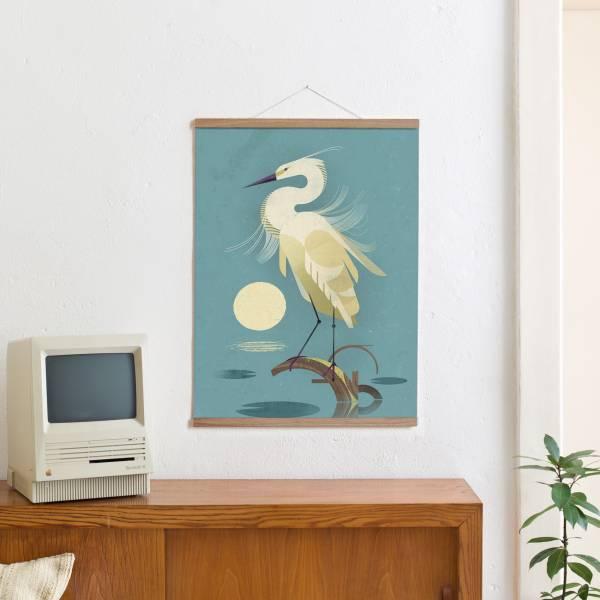 Set 8 (Eiche) / Little Egret + Magnetische Posterleiste 50 cm