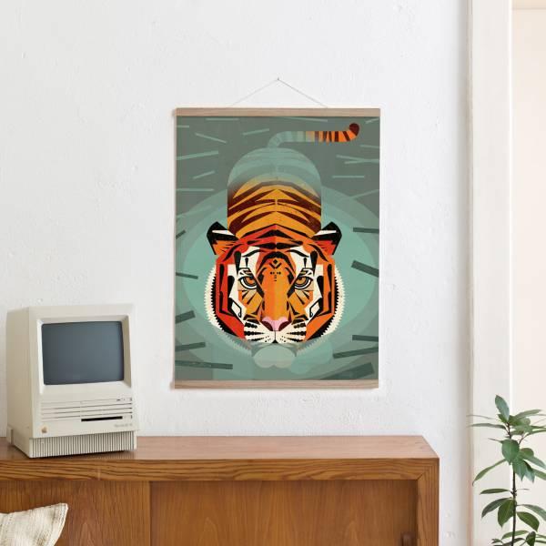 Set 6 / Swimming Tiger + Magnetische Posterleiste 50 cm