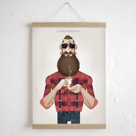 Set / Lumbersexual + Magnetische Posterleiste Eiche A3