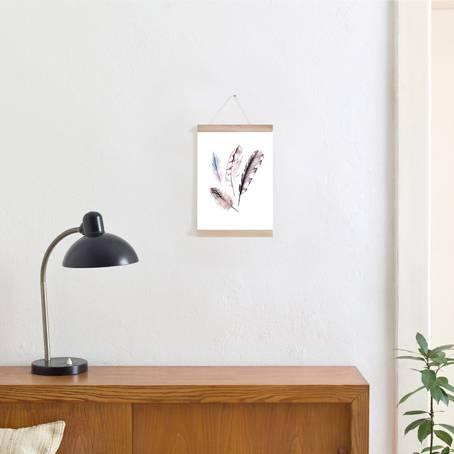 Set / Zeichnung Federn + Posterleiste Eiche A4