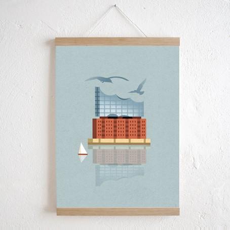 Elbphilharmonie + Magnetische Posterleiste Eiche A3
