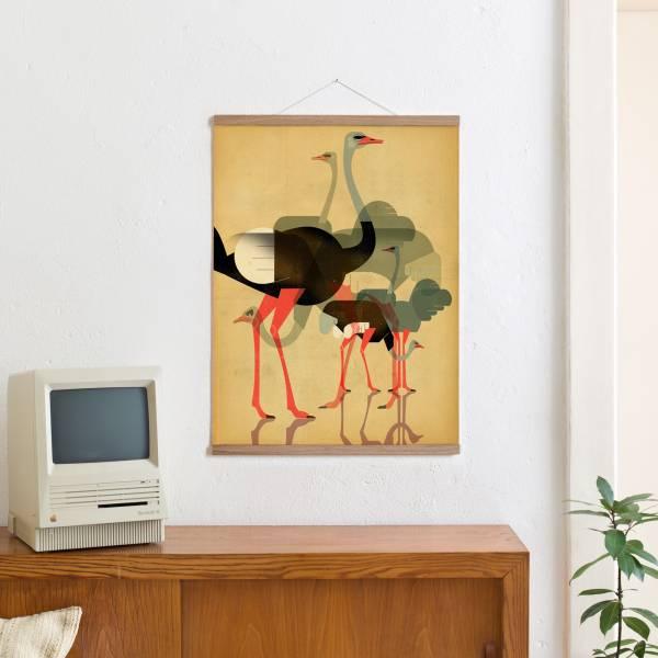 Set 10 / Ostriches + Magnetische Posterleiste 50 cm