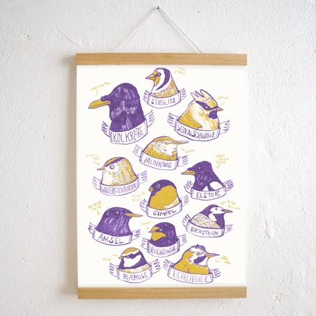 Set / Heimische Vögel Poster + Posterleiste Eiche A3