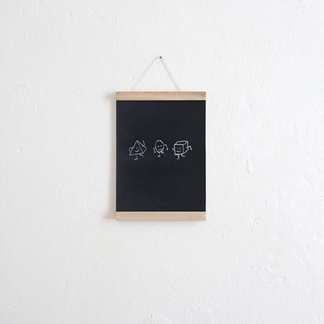 Set / Das Tafelposter + Posterleiste Eiche A4