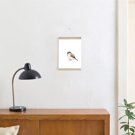Set / Spatz - Haussperling + Posterleiste Eiche A4
