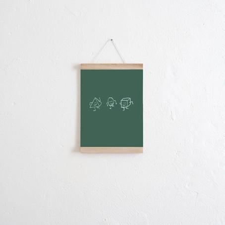 Set / Das Tafelposter Grün + Posterleiste Eiche A4