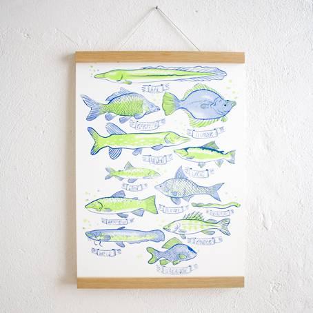 Fische_Poster+Posterleiste_Eiche_A3