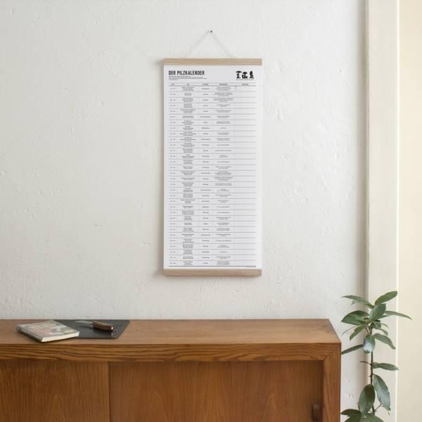 Set 2 / Der Pilzkalender + Magnetische Posterleiste Eiche A3
