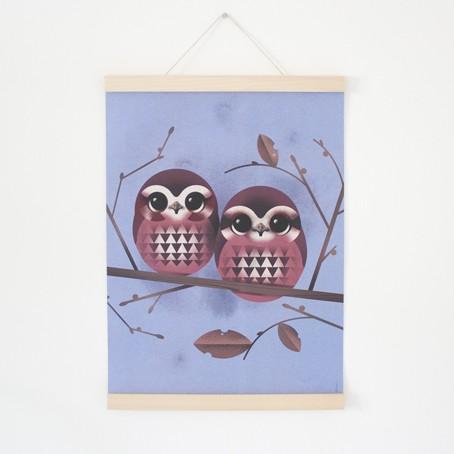 Set / Baby Owls + Posterleiste Ahorn A3