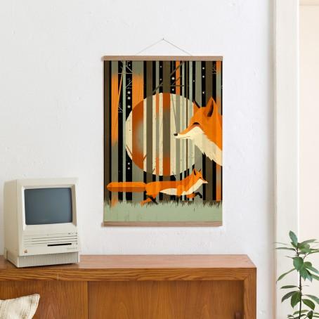 Set / Midnight Foxes + Posterleiste Eiche 50 cm / SALE
