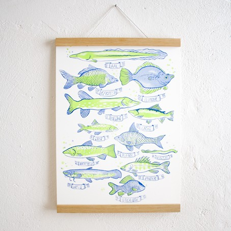 Set / Heimische Fische Poster + Posterleiste Eiche A3