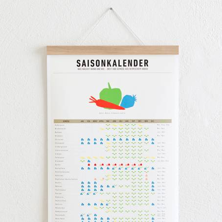 Set 1 /Eiche) / Saisonkalender + Magnetische Posterleiste Eiche A3