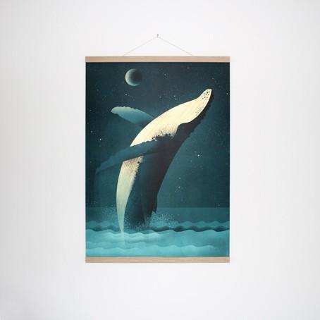 Set / Humpback Whale + Posterleiste Eiche 50 cm / SALE