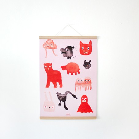 Set / Creatures Poster + Posterleiste Eiche A2