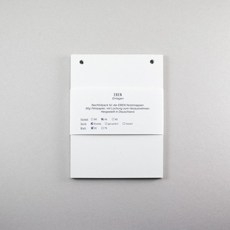 Einlagen für EBEN Mappe A6- Blanko