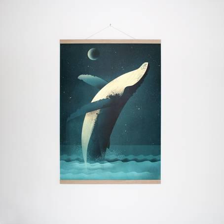 Humpback_Whale+Posterleiste_Eiche_50_cm