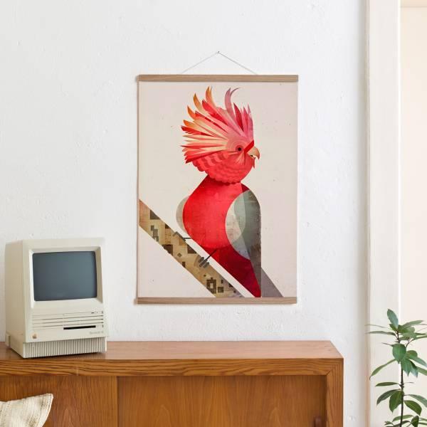 Set 7 (Eiche) / Galah Cockatoo + Magnetische Posterleiste 50 cm